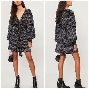 NWT Free People Wonderland Fit & Flare Dress Black